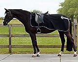 QHP Nierendecke Fleece-Ausreitdecke Ornament Fleecedecke Sattelausschnitt schwarz-silber (XL)