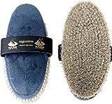 Haas Kardätsche - Fellglanz - mit weißem Rosshaar Korpus in stahlblau Damengröße 200x85 für ein...
